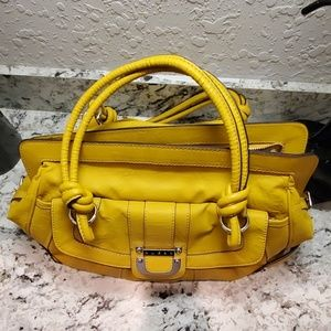 Mustard Gold Slouch Handbag Faux Leather